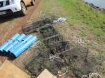 Pipe and collapsible traps used to catch crayfish