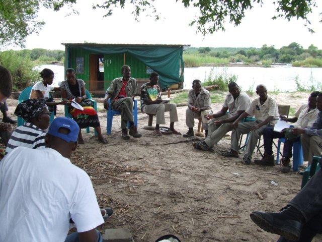 Community meeting, Impalila Island, Namibia