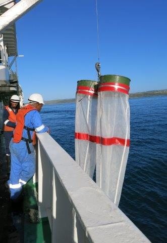 bongo netsA pair of bongo nets being retrieved onto the RV Ellen Khuzwayo