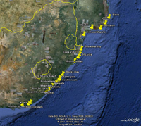 Localities in South Africa and Mozambique in which genetic samples have been collected for all three study species